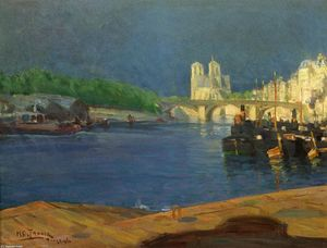 Henry Ossawa Tanner - View of the Seine Looking toward Notre Dame