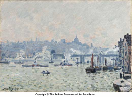 View of the Thames: Charing Cross Bridge, 1874 by Alfred Sisley (1839-1899, France) | Painting Copy | WahooArt.com