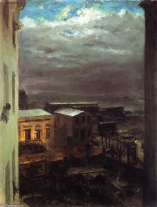 Adolph Menzel - View over Anhalt Station by Moonlight