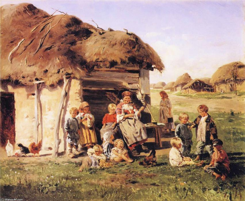 The Village Children, 1880 by Vladimir Yegorovich Makovsky (1846-1920, Russia) | Museum Quality Reproductions | WahooArt.com