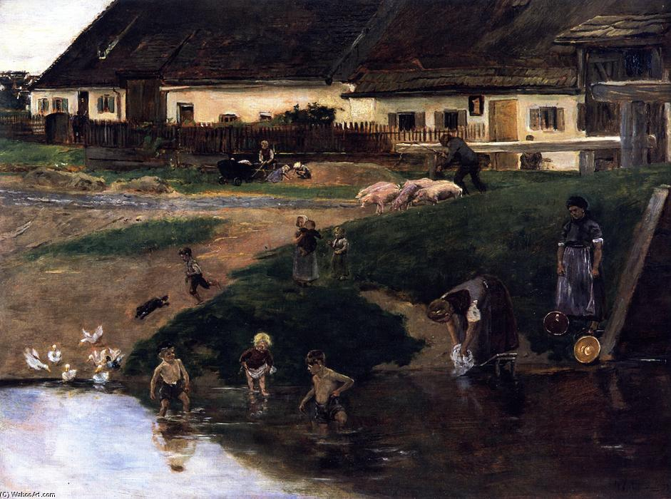 Village Pond in Etzenhauser - Village Idyll, Oil On Canvas by Max Liebermann (1847-1935, Germany)