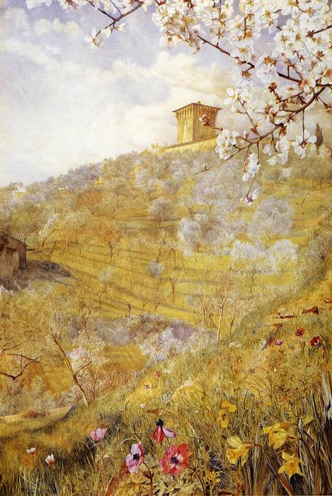 The Villa di Bellosguardo, 1887 by Henry Roderick Newman (1833-1918, United States) | Museum Quality Reproductions | WahooArt.com