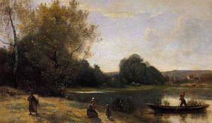 Jean Baptiste Camille Corot - Ville d'Avray - The Boat Leaving the Shore