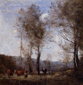 Jean Baptiste Camille Corot - Ville d'Avray, Cowherd in a Clearing near a Pond