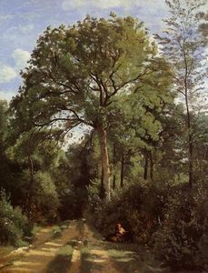 Jean Baptiste Camille Corot - Ville d-Avray - Edge of the Woods with a Female Cowherd