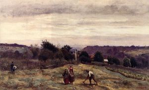 Jean Baptiste Camille Corot - Ville d'Avray - the Heights: Peasants Working in a Field