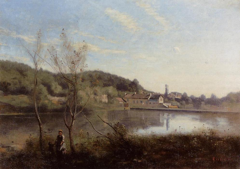 Ville d`Avray, the Large Pond and Villas, 1850 by Jean Baptiste Camille Corot (1796-1875, France) | Art Reproduction | WahooArt.com