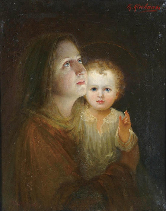 Virgin And Child by Theodore Kleehaas (1854-1929) | Oil Painting | WahooArt.com
