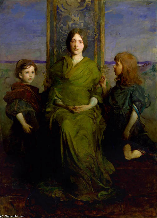 Virgin Enthroned, 1891 by Abbott Handerson Thayer (1849-1921, United States) | Famous Paintings Reproductions | WahooArt.com