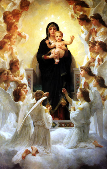 The Virgin With Angels, Oil On Panel by William Adolphe Bouguereau (1825-1905, France)