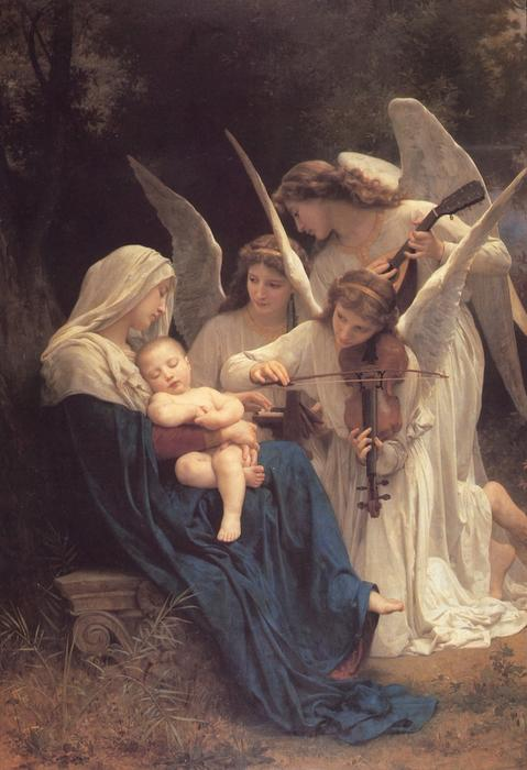 The Virgin with Angels, Oil On Canvas by William Adolphe Bouguereau (1825-1905, France)