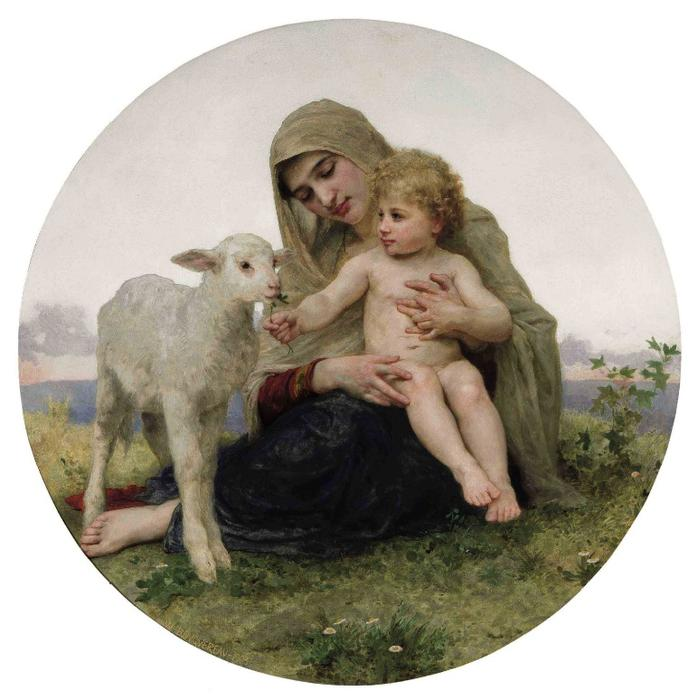 The Virgin with the Lamb by William Adolphe Bouguereau (1825-1905, France) | Famous Paintings Reproductions | WahooArt.com