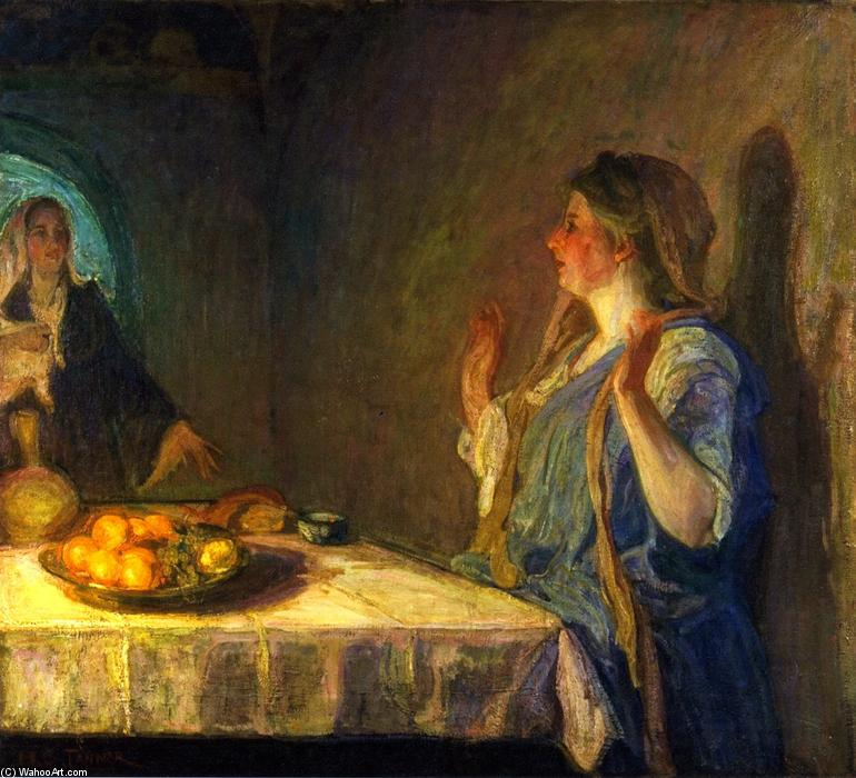 The Visitation (also known as Mary Visiting Elizabeth), 1909 by Henry Ossawa Tanner (1859-1937, United States) | Oil Painting | WahooArt.com