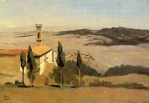 Jean Baptiste Camille Corot - Volterra - Church and Bell Tower