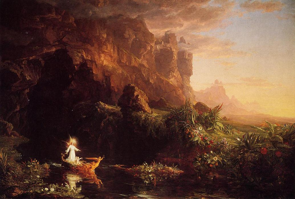 The Voyage of Life: Childhood, 1842 by Thomas Cole (1801-1848, United Kingdom) | Oil Painting | WahooArt.com