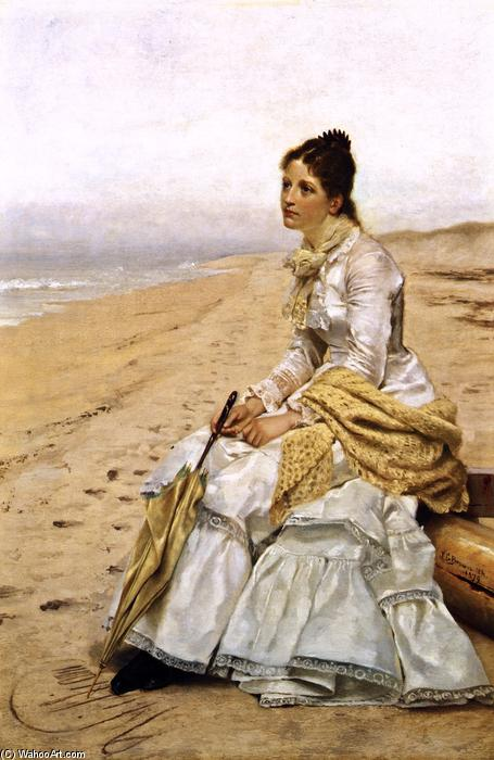 Waiting for William, Oil On Canvas by John George Brown (1831-1913, United Kingdom)