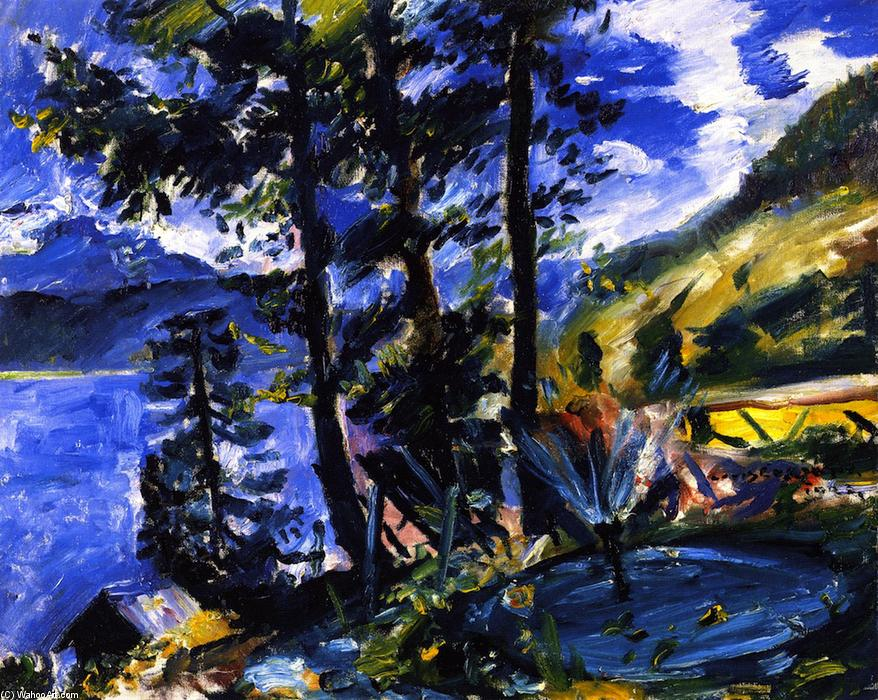 Walchensee with Fountain, Oil On Canvas by Lovis Corinth (Franz Heinrich Louis) (1858-1925, Netherlands)