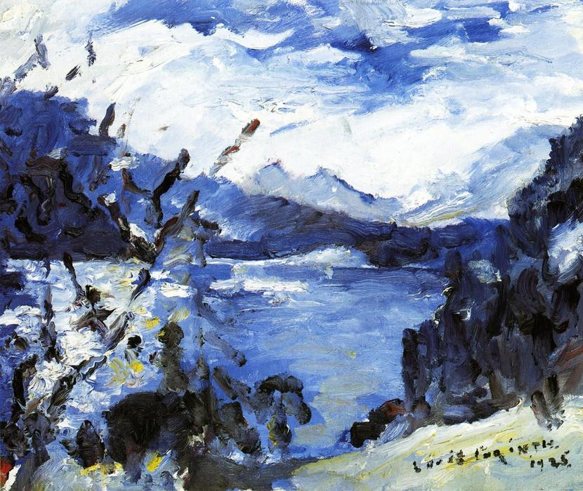 The Walchensee with Mountain Range and Shore, Painting by Lovis Corinth (Franz Heinrich Louis) (1858-1925, Netherlands)