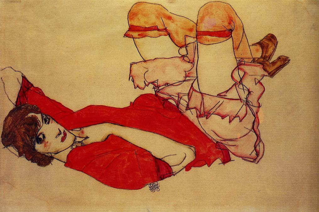 Wally with a Red Blouse, 1913 by Egon Schiele (1890-1918, Croatia) | Painting Copy | WahooArt.com