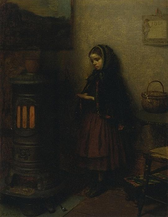 Warming Her Hands, Oil On Canvas by Jonathan Eastman Johnson (1824-1906, United Kingdom)