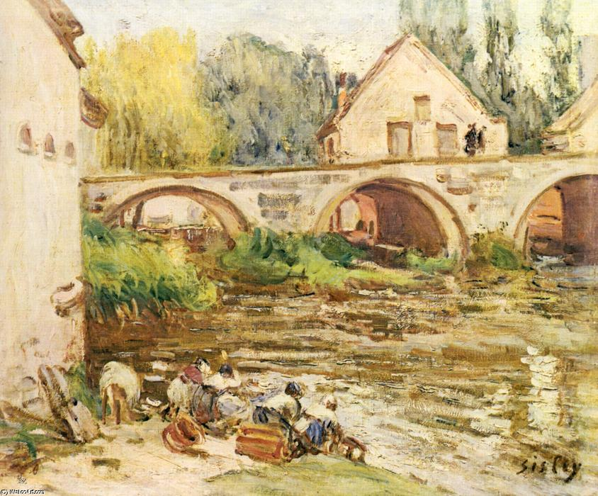 The Washerwomen of Moret, Oil On Canvas by Alfred Sisley (1839-1899, France)
