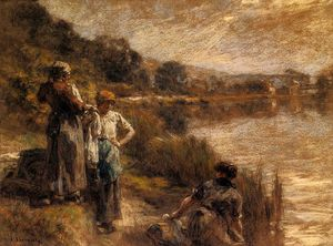 Léon Augustin L-hermitte - Washerwomen on the Banks of the Marne