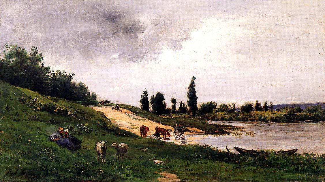 Washerwomen on the Riverbank by Charles François Daubigny (1817-1878, France) | Art Reproduction | WahooArt.com