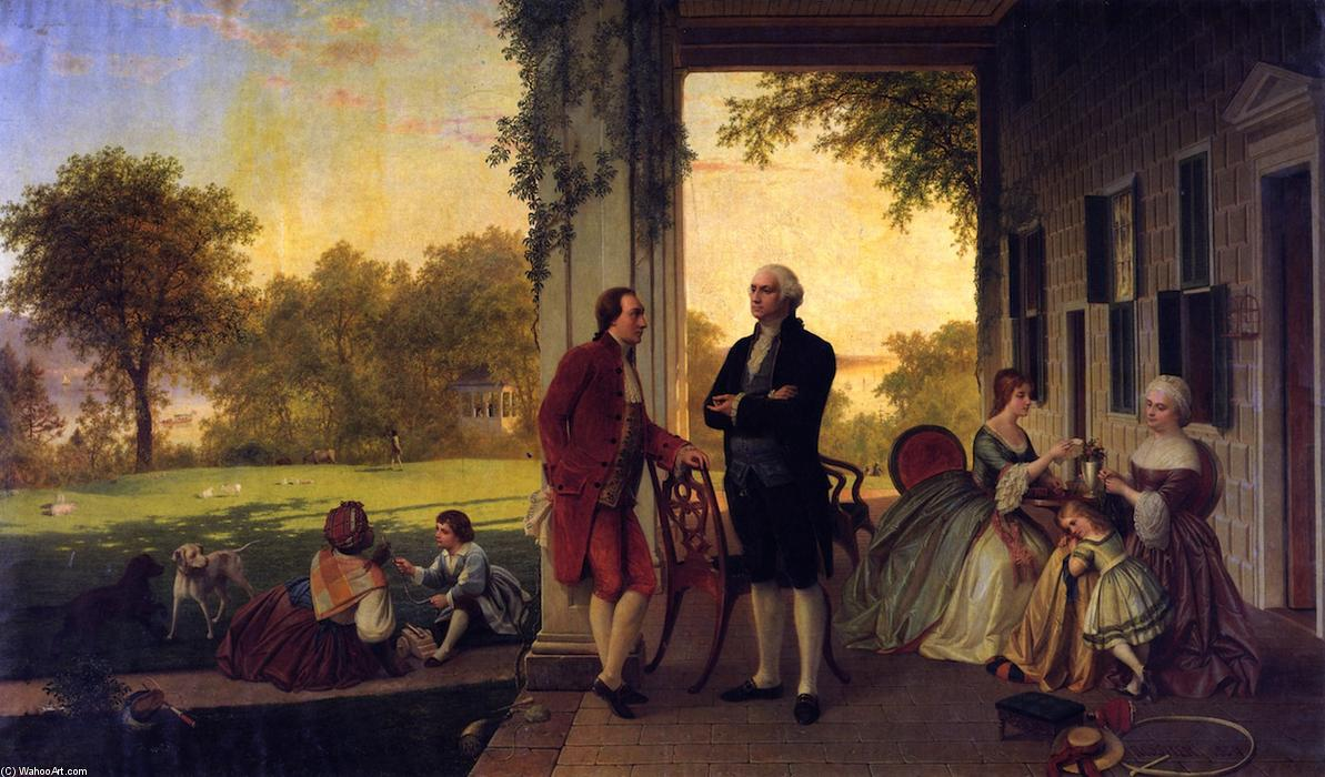 Washington and Lafayette at Mount Vernon, 1784 (also known as The Home of Washington after the War), 1859 by Louis Remy Mignot (1831-1870, United States) | WahooArt.com