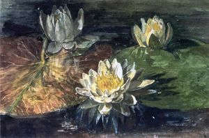 John La Farge - Water-Lilies, Red and Green Pads
