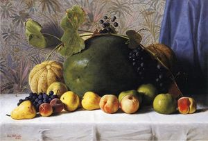 George Hetzel - Watermelon, Cantaloupes, Grapes and Apples