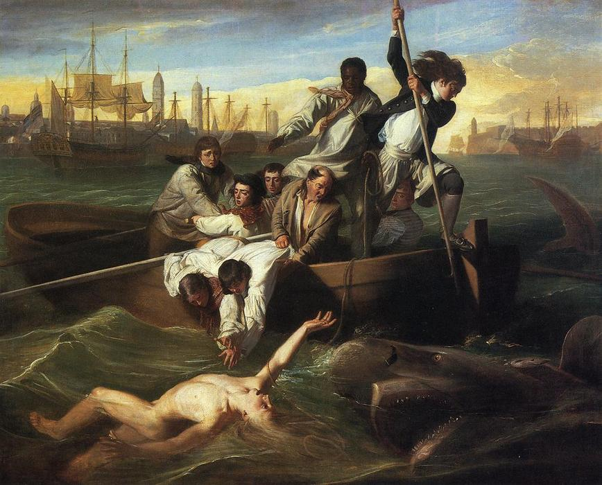 Watson and the Shark, Oil On Canvas by John Singleton Copley (1738-1815, United States)