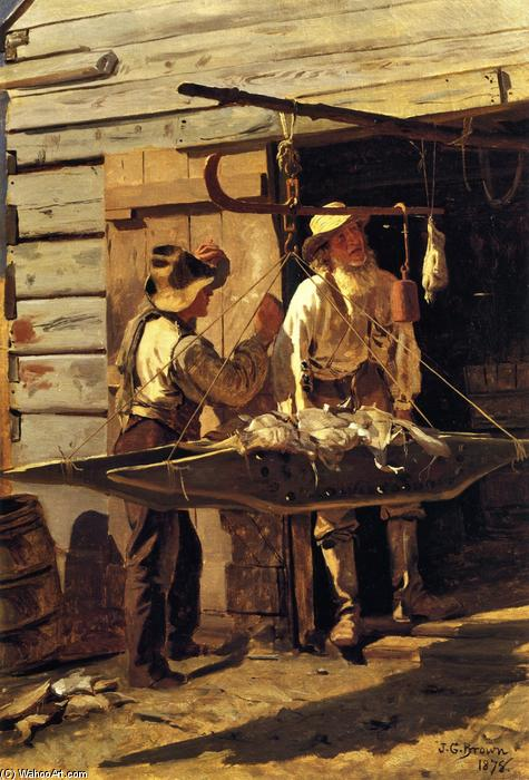 Weighing the Catch, Oil On Canvas by John George Brown (1831-1913, United Kingdom)