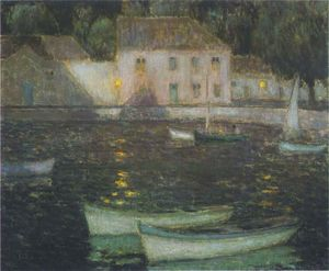 Henri Eugène Augustin Le Sidaner - White Boats in a full moon