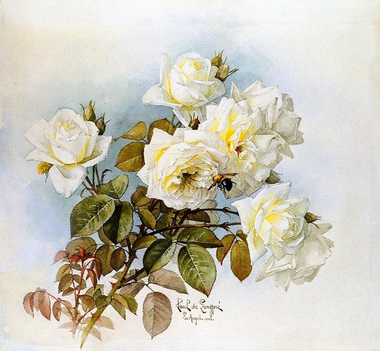 White Roses and Bumblebees, 1903 by Raoul De Longpre (1859-1911, France) | Art Reproductions Raoul De Longpre | WahooArt.com