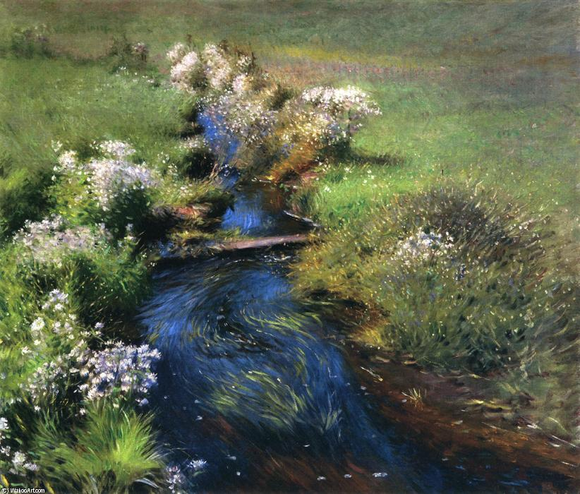 Wild Asters, Oil On Canvas by Dennis Miller Bunker (1861-1890, United States)