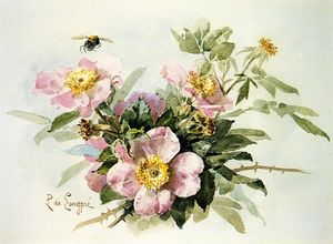Raoul De Longpre - Wild Roses with Bee