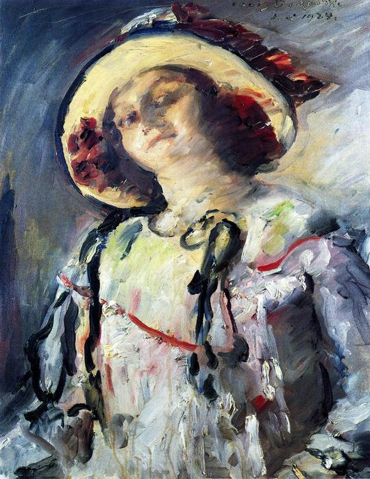 Wilhelmine in a Yellow Hat, Oil On Canvas by Lovis Corinth (Franz Heinrich Louis) (1858-1925, Netherlands)