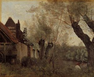 Jean Baptiste Camille Corot - Willows and Farmhouses at Saint-Catherine-les Arras