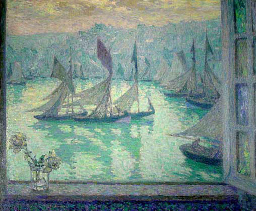 Window at the Port of Honfleur, Oil On Canvas by Henri Eugène Augustin Le Sidaner (1862-1939, Mauritius)