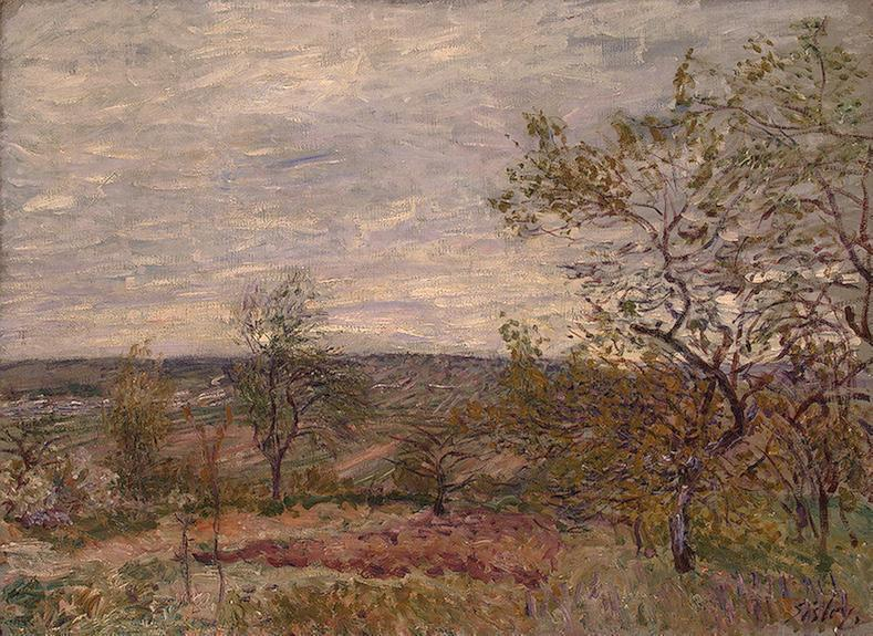 Windy Day at Veneux (also known as La campagne aux Environs de Veneux), Oil On Canvas by Alfred Sisley (1839-1899, France)
