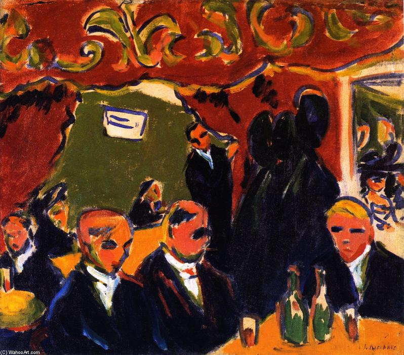 Wine Bar (also known as Wine Tavern), 1909 by Ernst Ludwig Kirchner (1880-1938, Germany) | Museum Quality Reproductions | WahooArt.com