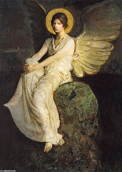 Winged Figure Seated upon a Rock by Abbott Handerson Thayer (1849-1921, United States)