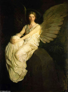 Abbott Handerson Thayer - Winged Figure Seated Upon a Rock