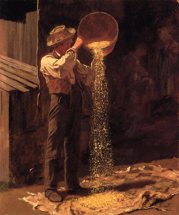 Winnowing Grain, 1877 by Jonathan Eastman Johnson (1824-1906, United Kingdom) | Oil Painting | WahooArt.com