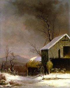 George Henry Durrie - Winter Farm Scene, Connecticut