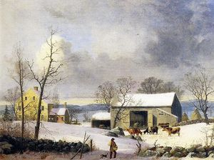 George Henry Durrie - Winter in the Country, Farmyard