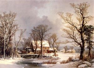 George Henry Durrie - Winter in the Country, The Old Grist Mill
