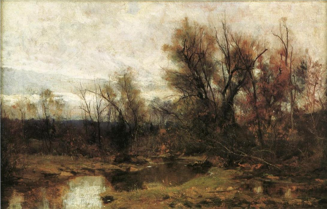Winter Landscape, Oil On Panel by Hugh Bolton Jones (1848-1927)