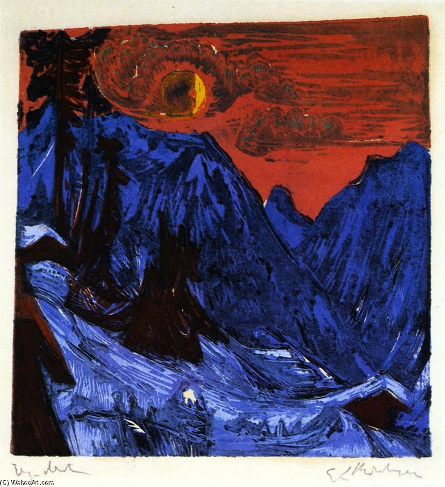 Winter Landscape by Moonlight, 1919 by Ernst Ludwig Kirchner (1880-1938, Germany) | WahooArt.com