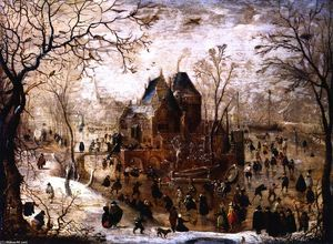 Hendrick Avercamp - Winter Landscape with a Castle on an Island